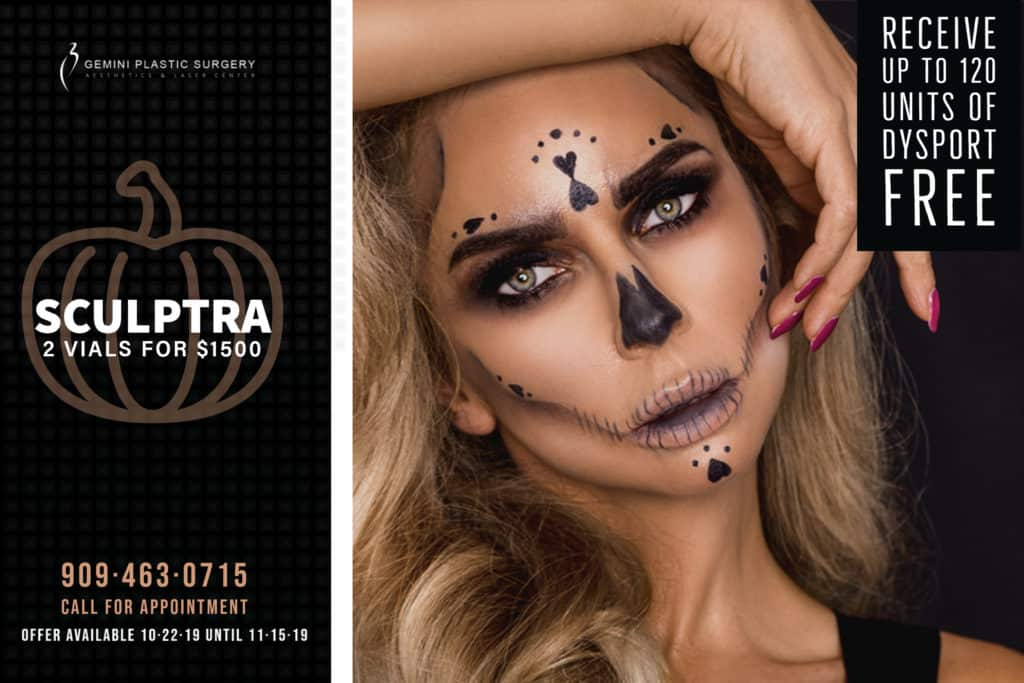 October Halloween MedSpa Specials & Discounts. Sculptra & Dysport injectables special available in Rancho Cucamonga, Inland Empire at Gemini Plastic Surgery.